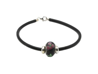 Black Leather Bracelet with Black Bead with Pink/Green Flower