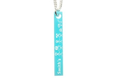 Custom Family Name, & Stick Figures Vertical Bar Necklace