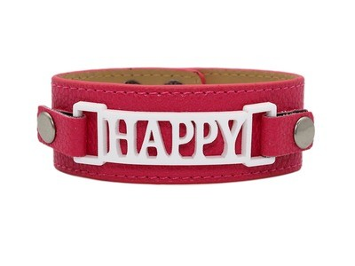 Classic Cuff Raspberry Clearance with Happy Plaque