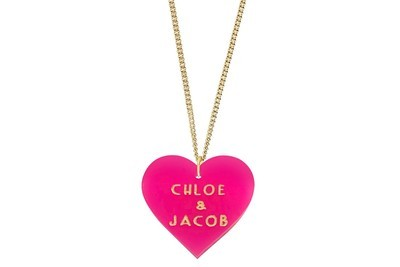 Custom Sweetheart Pendant w/Names on Chain Necklace