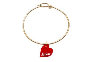 Heart Shaped Charm with Name on Decorative Wire Bracelet