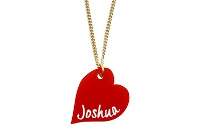 Heart Shaped Pendant with Name on Chain Necklace