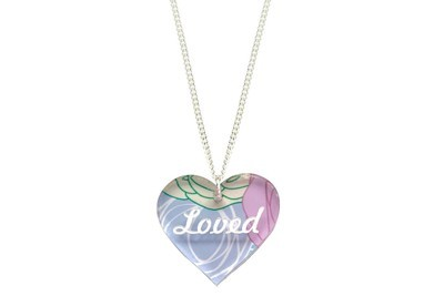 Custom Heart Pendant with Name or Saying on Chain Necklace