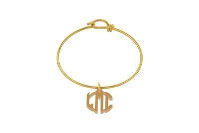 Clean Block Monogram with Decorative Wire Bracelet