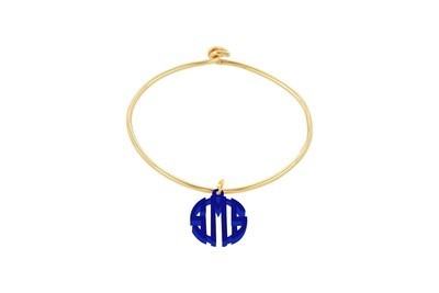 Clean Block Monogram with Sterling Silver Bangle Bracelet with Yellow Gold Plating