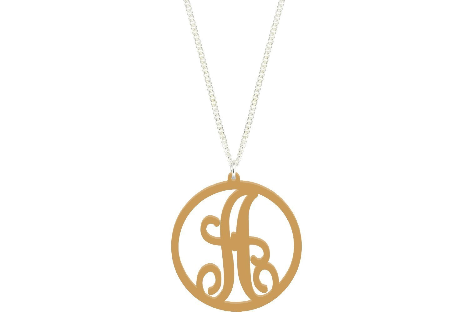 Scroll Initial Pendant with Chain Necklace