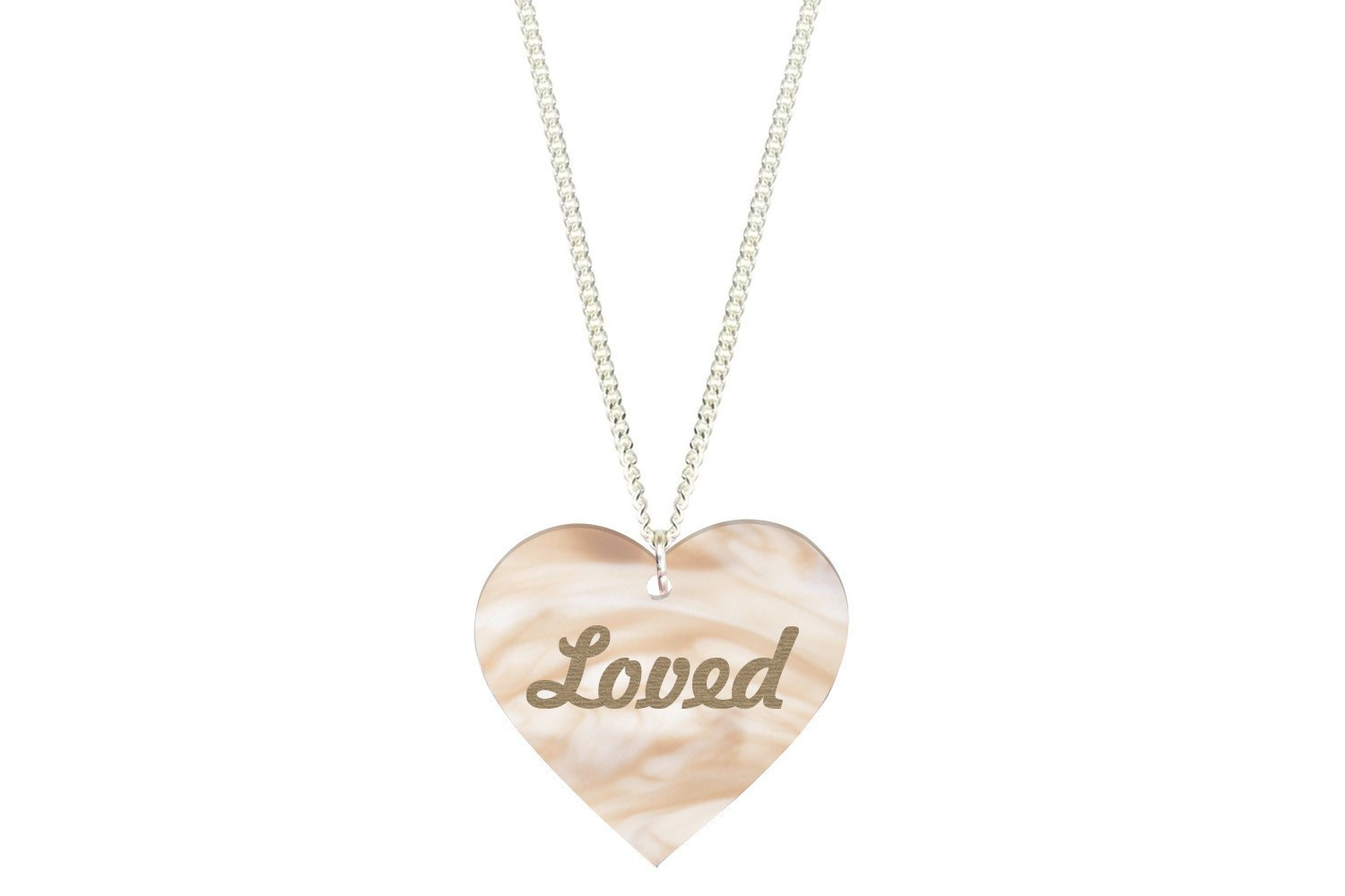 Custom Heart Pendant w/Name or Saying on Chain Necklace