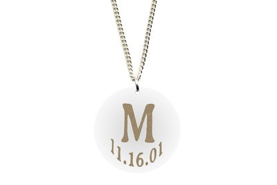 Initial Pendant with Date on Chain Necklace