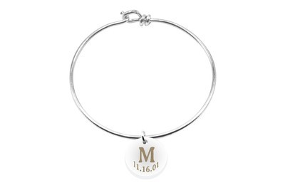 Initial Charm with Date on Decorative Wire Bracelet