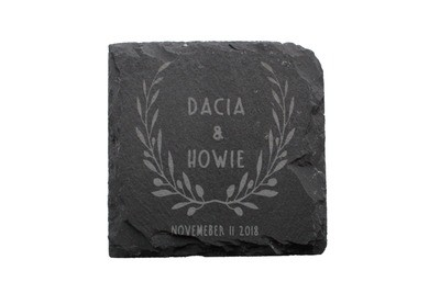 Custom Name & Date w/Wreath Slate Coaster Set