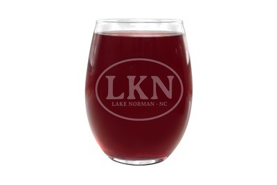 Custom Stemless Wine Glasses with Initials or Airport Code and City & State