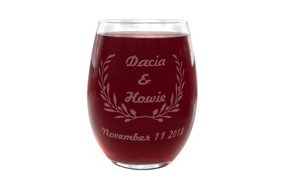 Personalized Stemless Wine Glass with Names & Date