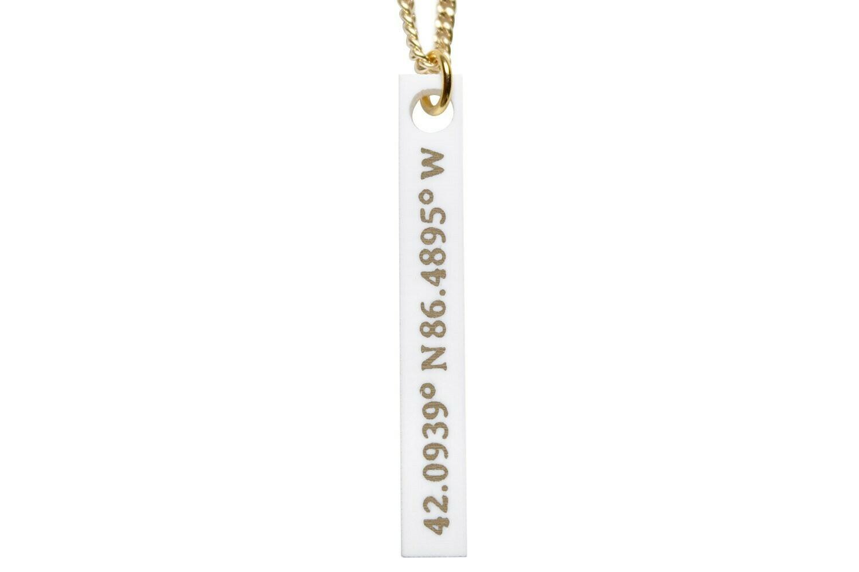 Latitude & Longitude Vertical Bar Necklace