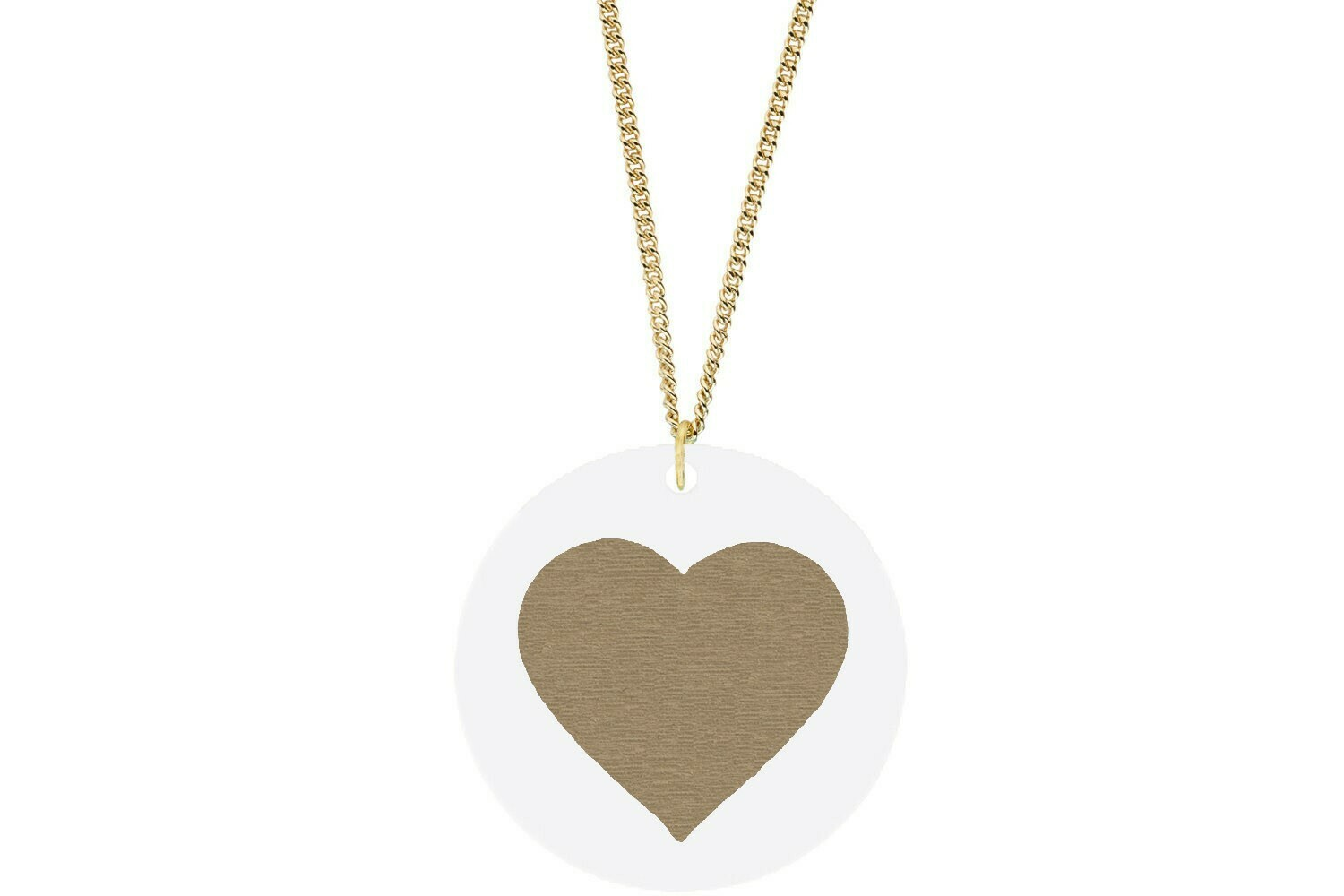 Heart Pendant Subtle Style Refined with Paint on Chain Necklace