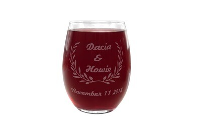 Personalized PLASTIC Stemless Wine Glass with Names & Date