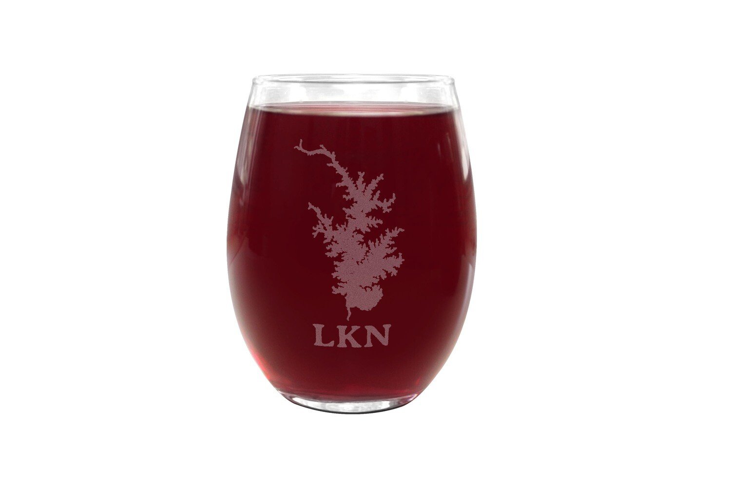 Body of Water w/Location Name PLASTIC Stemless Wine Glass