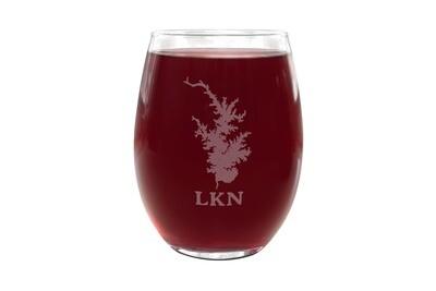 Custom Stemless Wine Glass LKN w/Lake