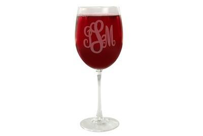 Monogrammed Wine Glass
