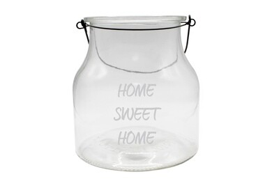 Personalized Clear Glass Lantern w/Saying