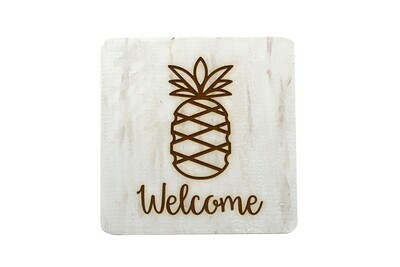 Pineapple w/WELCOME Hand-Painted Wood Coaster Set