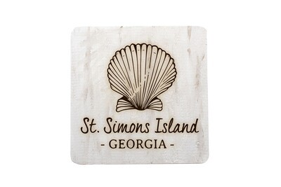 Seashell with Location & State Hand-Painted Wood Coaster Set
