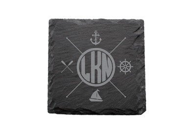 Nautical Themes Customized with Location Slate Coaster Set
