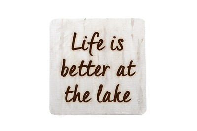 Life is Better at the Lake or Beach Hand-Painted Wood Coaster Set