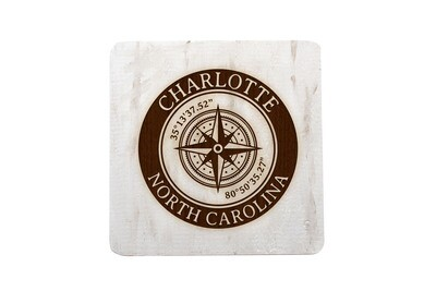 City & State w/Latitude Longitude in Circle on Hand-Painted Wood Coaster Set