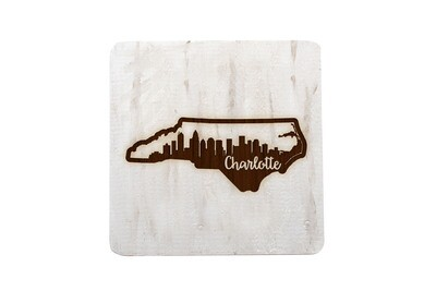City Skyline inside State Shape on Hand-Painted Wood Coaster Set