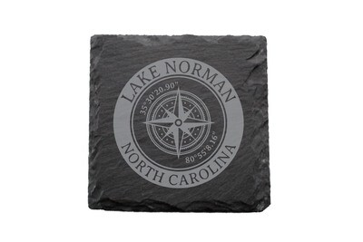 Location w/Latitude Longitude in Circle on Slate Coaster Set