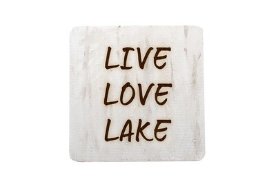 Live Love Lake or Any Custom Words Hand-Painted Wood Coaster Set