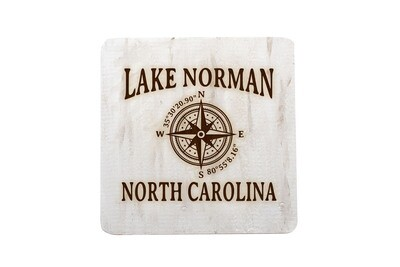 Custom Location w/Latitude Longitude Hand-Painted Wood Coaster Set