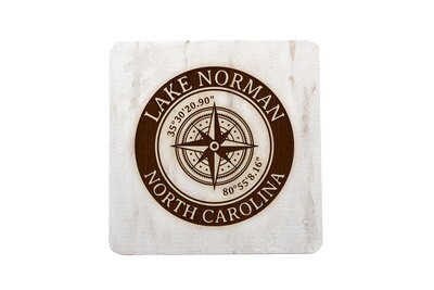 Location w/Latitude Longitude in Circle on Hand-Painted Wood Coaster Set