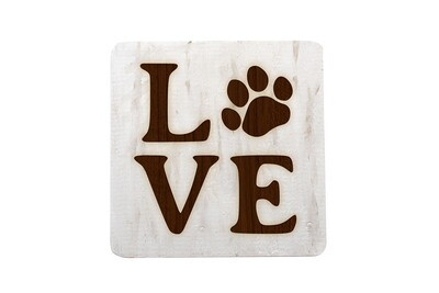 LOVE with Dog or Cat Paw Print Hand-Painted Wood Coaster Set
