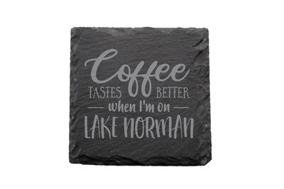 Coffee Tastes better with Customized Location Slate Coaster Set