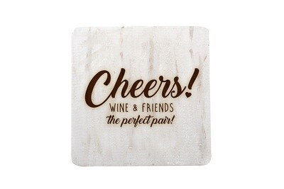 Cheers Wine & Friends the Perfect Pair Hand-Painted Wood Coaster Set