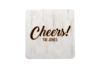 Custom Cheers w/Name Hand-Painted Wood Coaster Set