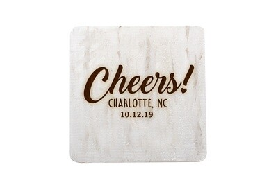 Custom Cheers w/City & State & Date Hand-Painted Wood Coaster Set