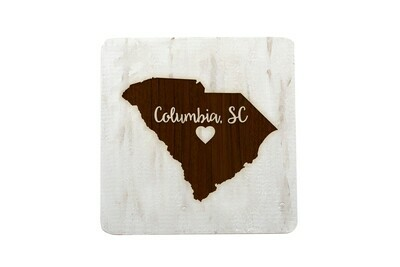 Custom State Shape - Heart Represents City Location Hand-Painted Wood Coaster Set