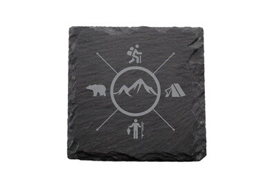 Mountains with 4 Outdoor Themes Slate Coaster Set