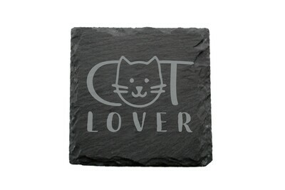 Dog or Cat Lover Image on Slate Coaster Set
