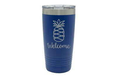 Pineapple w/Welcome or Your Custom Word Insulated Tumbler 20 oz