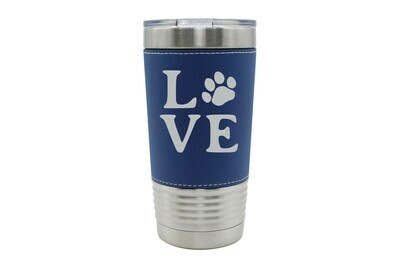 Leatherette 20 oz Love Customized with Dog or Cat Print Insulated Tumbler