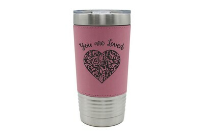 Leatherette 20 oz Heart You Are Loved Insulated Tumbler