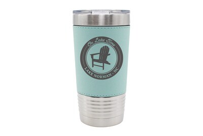 Leatherette 20 oz On Lake Time w/Chair & Customized Location Insulated Tumbler