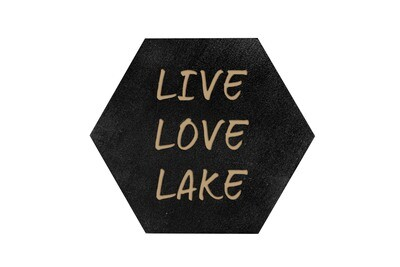 Live Love Lake or Any Custom Words HEX Hand-Painted Wood Coaster Set