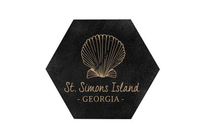 Seashell with Location & State HEX Hand-Painted Wood Coaster Set