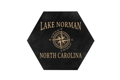 Custom Location w/Latitude Longitude HEX Hand-Painted Wood Coaster Set