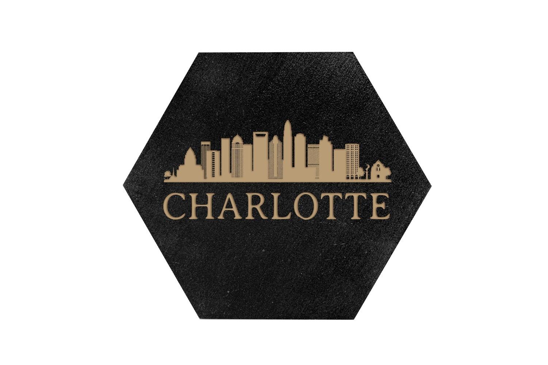 City Skyline on HEX Hand-Painted Wood Coaster Set