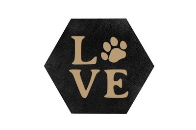 LOVE with Dog or Cat Paw Print HEX Hand-Painted Wood Coaster Set